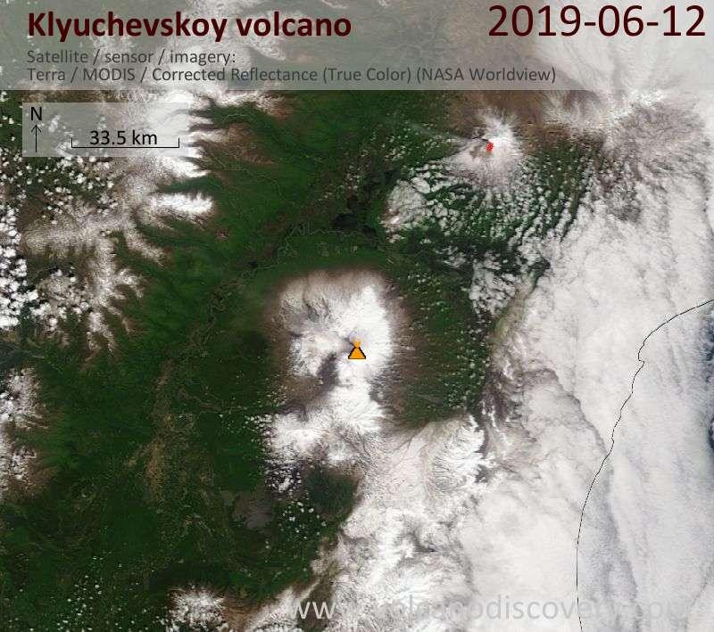 Satellite image of Klyuchevskoy volcano on 12 Jun 2019