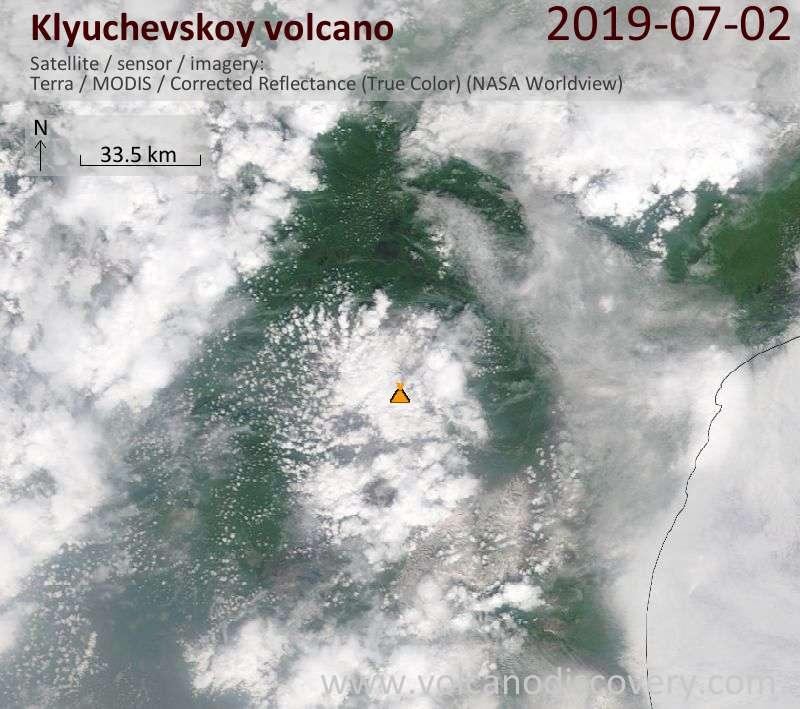 Satellite image of Klyuchevskoy volcano on  2 Jul 2019