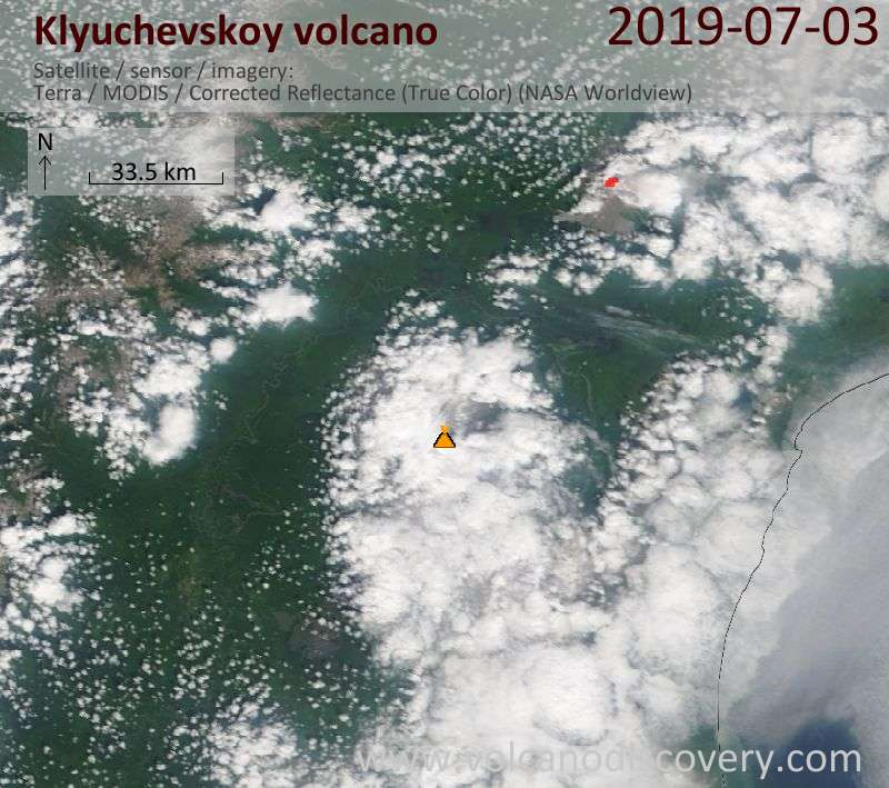 Satellite image of Klyuchevskoy volcano on  3 Jul 2019