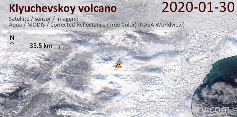 Satellite image of Klyuchevskoy volcano on 30 Jan 2020
