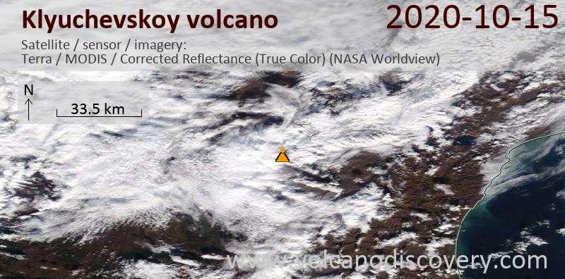 Satellite image of Klyuchevskoy volcano on 15 Oct 2020