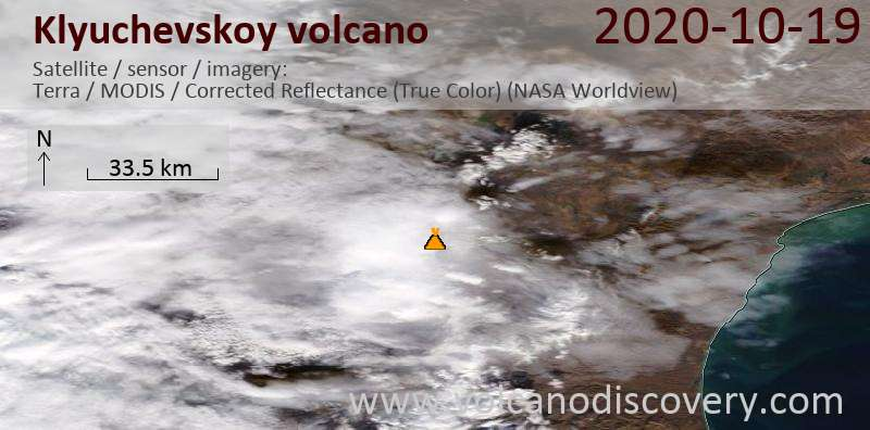 Satellite image of Klyuchevskoy volcano on 19 Oct 2020