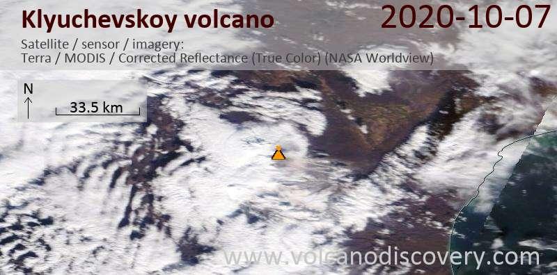 Satellite image of Klyuchevskoy volcano on  7 Oct 2020