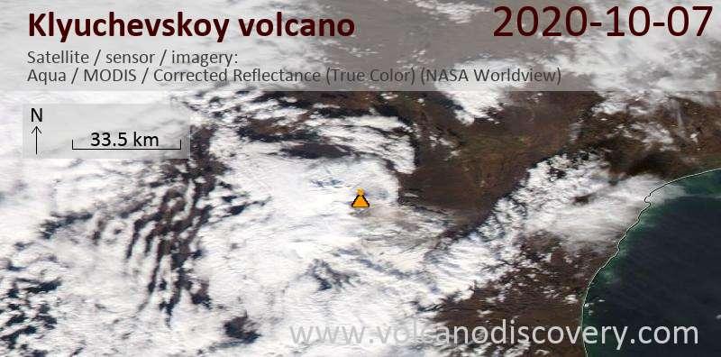 Satellite image of Klyuchevskoy volcano on  8 Oct 2020