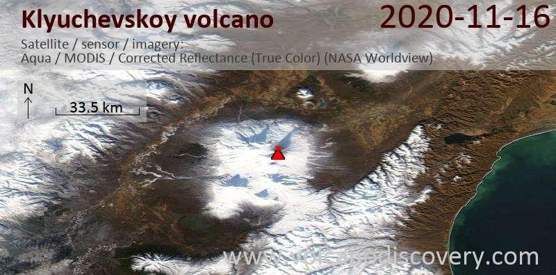 Satellite image of Klyuchevskoy volcano on 17 Nov 2020