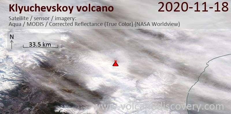 Satellite image of Klyuchevskoy volcano on 18 Nov 2020
