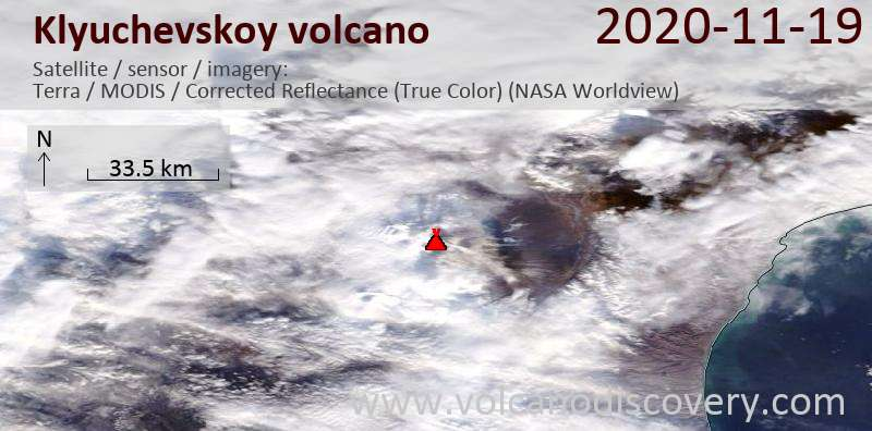 Satellite image of Klyuchevskoy volcano on 19 Nov 2020