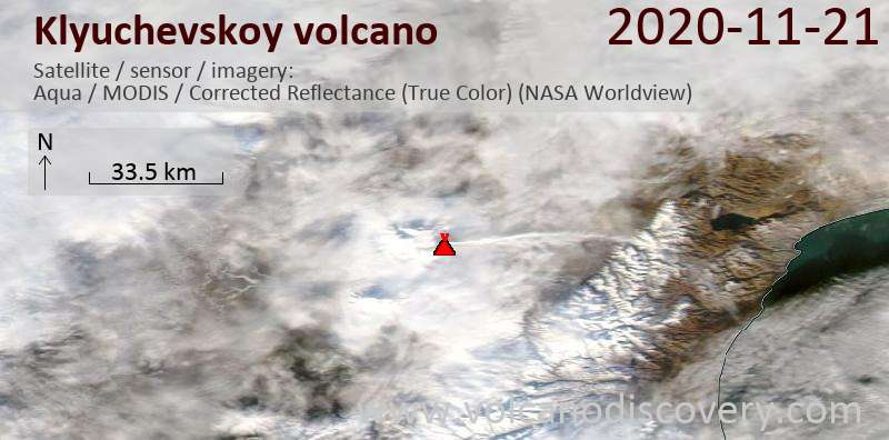 Satellite image of Klyuchevskoy volcano on 21 Nov 2020