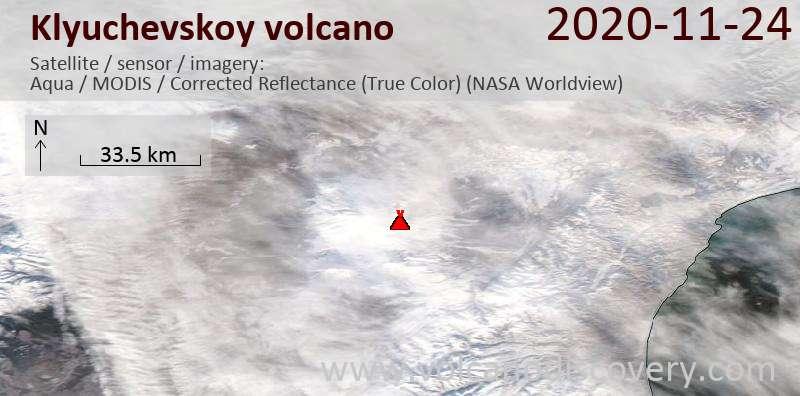 Satellite image of Klyuchevskoy volcano on 24 Nov 2020