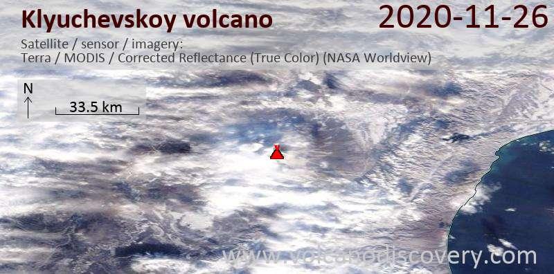 Satellite image of Klyuchevskoy volcano on 26 Nov 2020