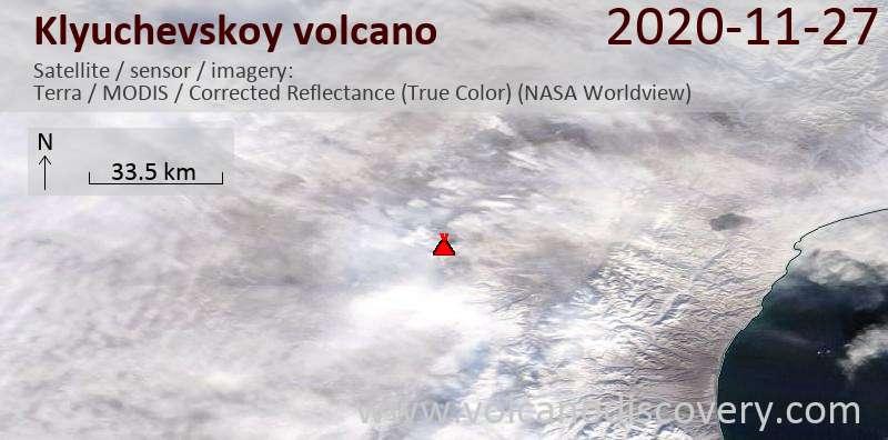 Satellite image of Klyuchevskoy volcano on 27 Nov 2020