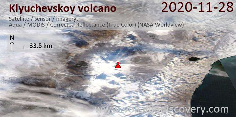 Satellite image of Klyuchevskoy volcano on 29 Nov 2020