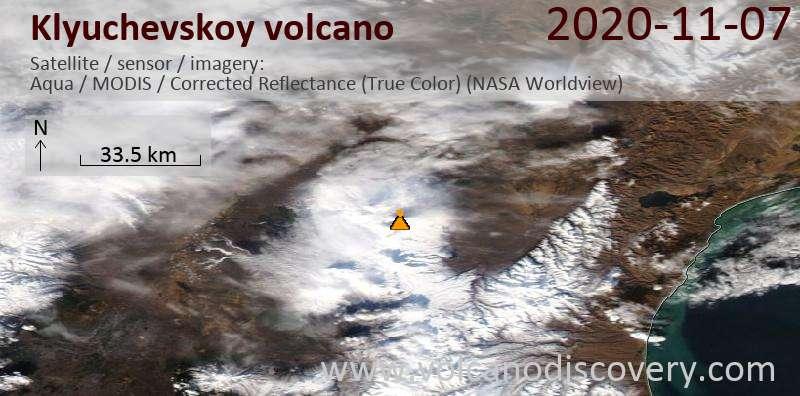 Satellite image of Klyuchevskoy volcano on  7 Nov 2020
