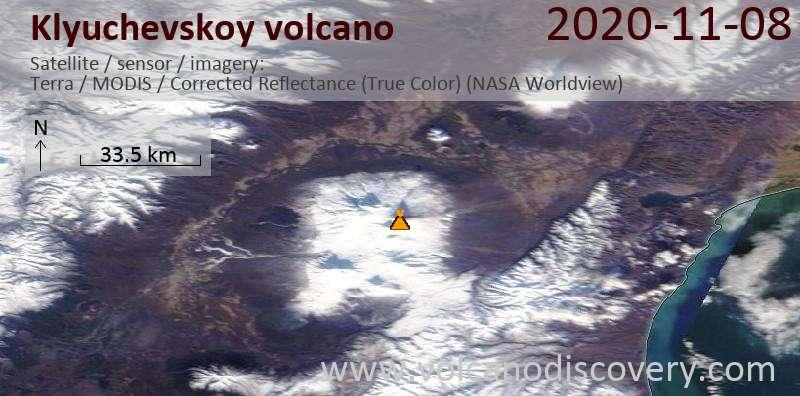 Satellite image of Klyuchevskoy volcano on  8 Nov 2020