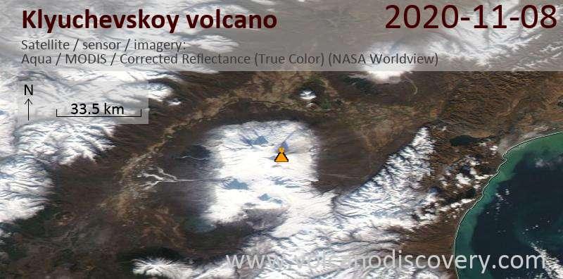 Satellite image of Klyuchevskoy volcano on  9 Nov 2020