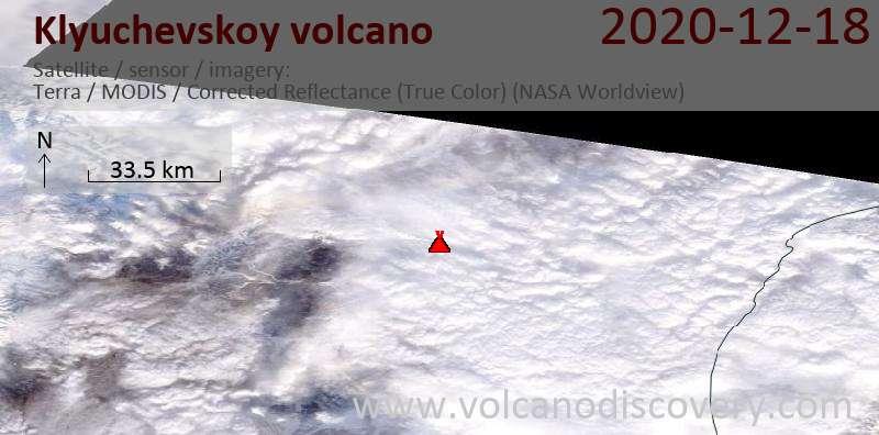 Satellitenbild des Klyuchevskoy Vulkans am 18 Dec 2020