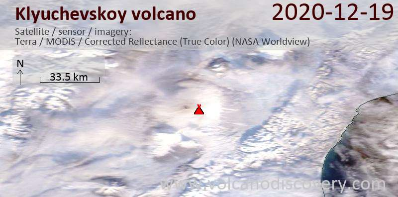 Satellite image of Klyuchevskoy volcano on 19 Dec 2020