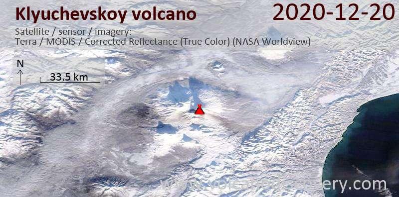 Satellite image of Klyuchevskoy volcano on 20 Dec 2020