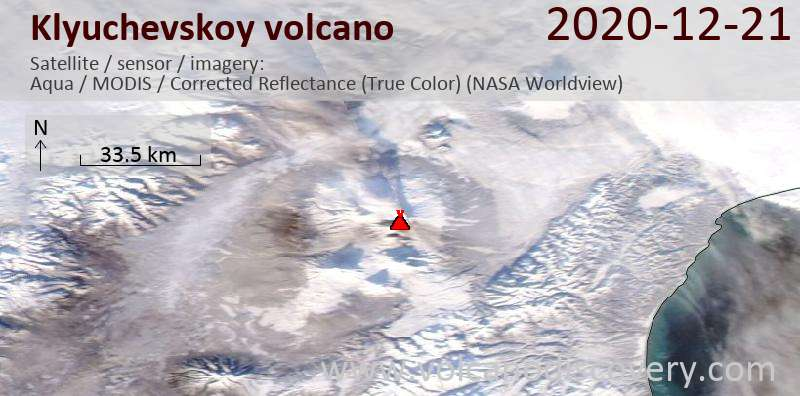 Satellite image of Klyuchevskoy volcano on 21 Dec 2020