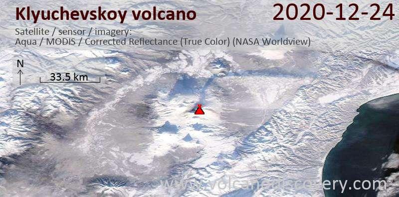 Спутниковое изображение вулкана Klyuchevskoy 24 Dec 2020