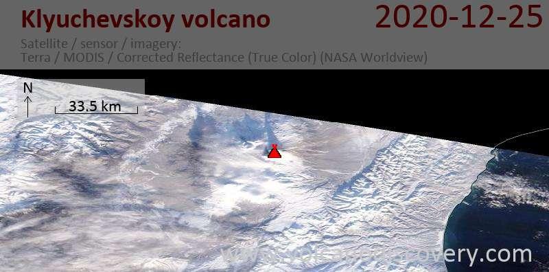 Satellitenbild des Klyuchevskoy Vulkans am 25 Dec 2020