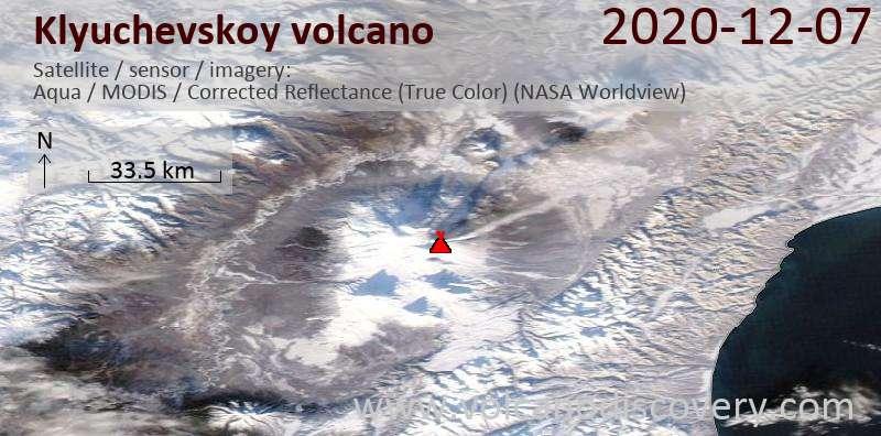 Спутниковое изображение вулкана Klyuchevskoy  7 Dec 2020