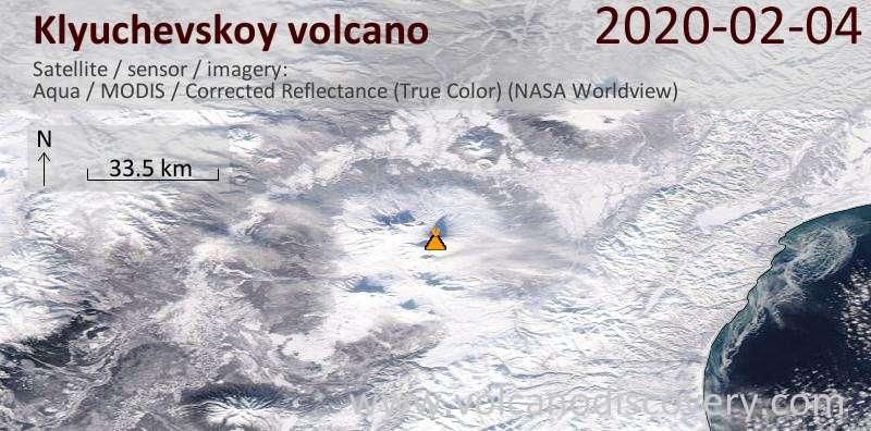Satellitenbild des Klyuchevskoy Vulkans am  4 Feb 2020