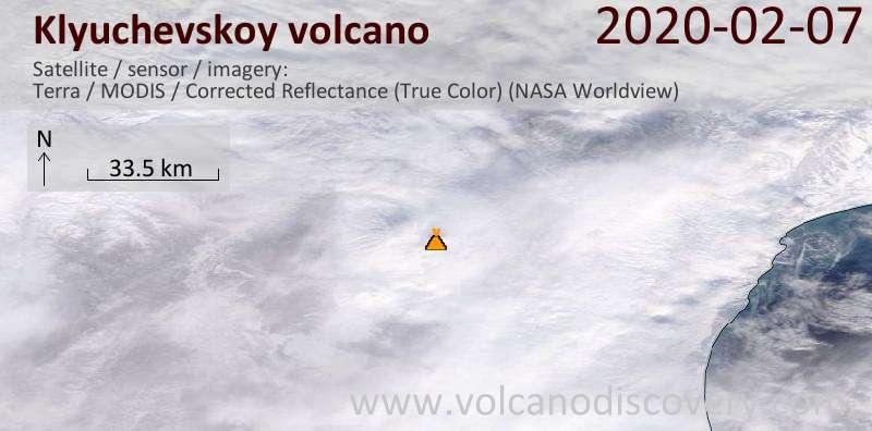 Satellitenbild des Klyuchevskoy Vulkans am  7 Feb 2020
