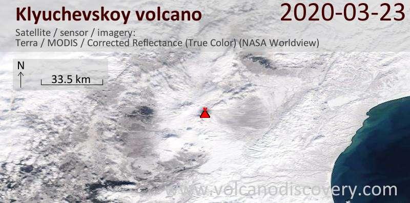 Satellite image of Klyuchevskoy volcano on 23 Mar 2020
