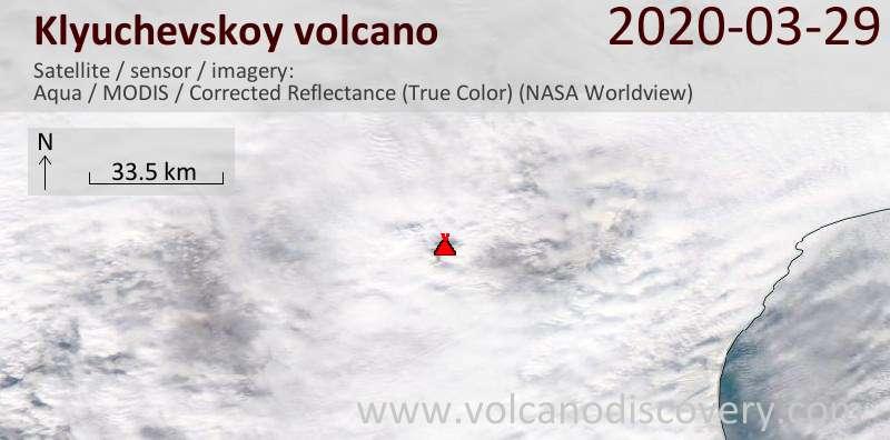 Satellite image of Klyuchevskoy volcano on 29 Mar 2020