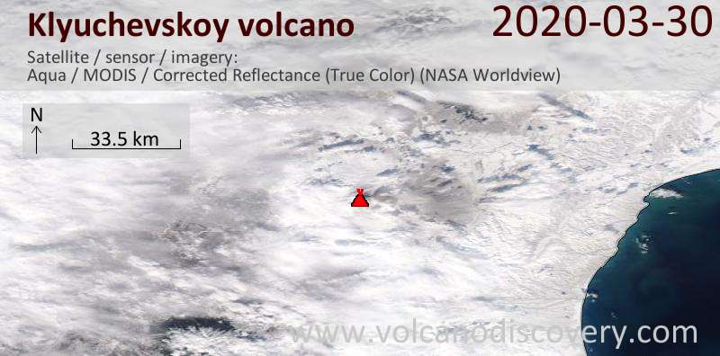 Satellite image of Klyuchevskoy volcano on 31 Mar 2020