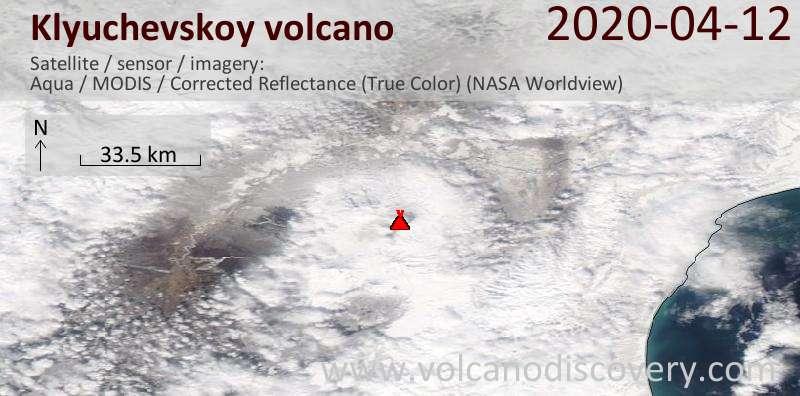 Satellite image of Klyuchevskoy volcano on 12 Apr 2020