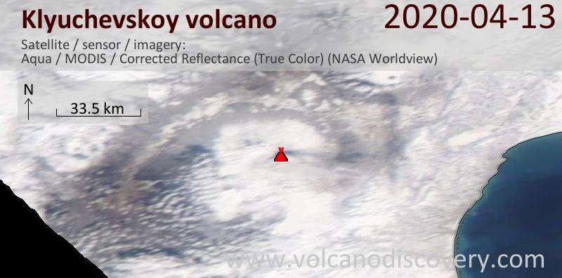 Satellite image of Klyuchevskoy volcano on 13 Apr 2020