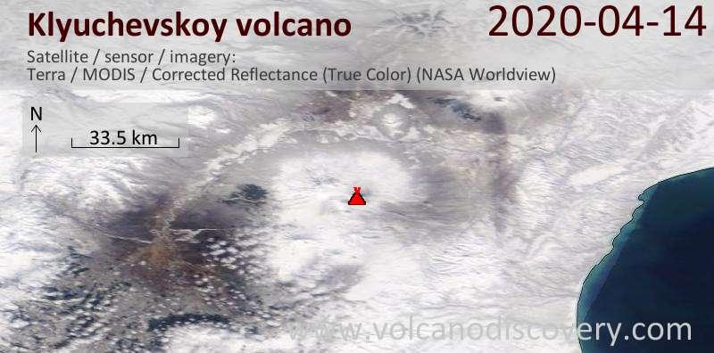 Satellite image of Klyuchevskoy volcano on 14 Apr 2020