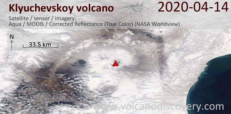 Satellite image of Klyuchevskoy volcano on 15 Apr 2020