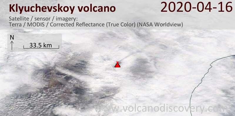Satellite image of Klyuchevskoy volcano on 16 Apr 2020