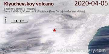 Satellite image of Klyuchevskoy volcano on  5 Apr 2020