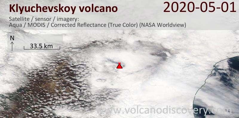 Satellite image of Klyuchevskoy volcano on  1 May 2020