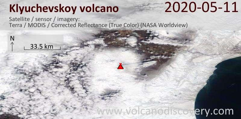 Satellite image of Klyuchevskoy volcano on 11 May 2020