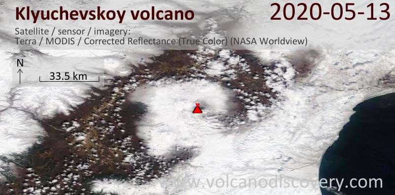 Satellite image of Klyuchevskoy volcano on 13 May 2020