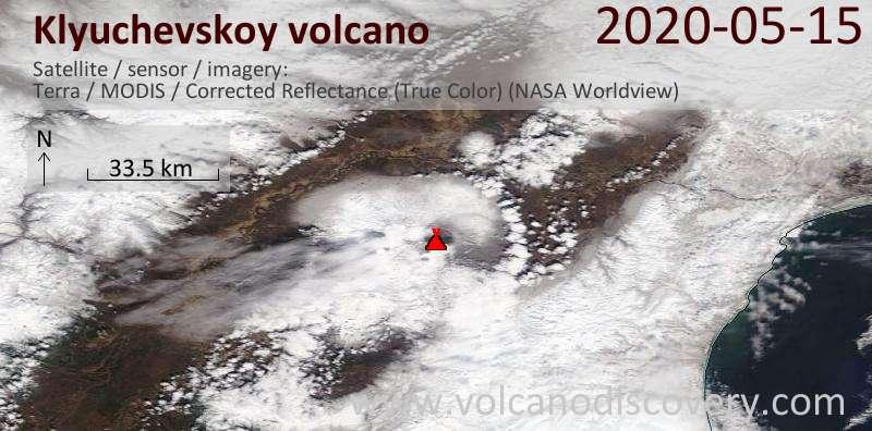 Satellite image of Klyuchevskoy volcano on 15 May 2020