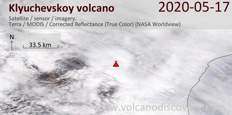 Спутниковое изображение вулкана Klyuchevskoy 17 May 2020