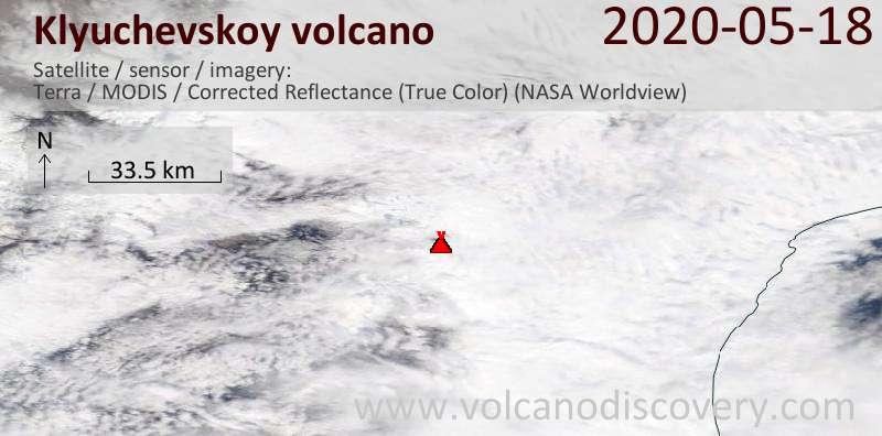 Спутниковое изображение вулкана Klyuchevskoy 18 May 2020