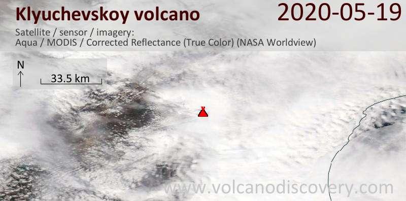 Спутниковое изображение вулкана Klyuchevskoy 19 May 2020