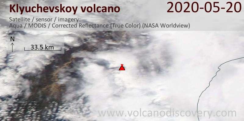 Спутниковое изображение вулкана Klyuchevskoy 20 May 2020