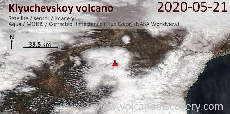 Спутниковое изображение вулкана Klyuchevskoy 21 May 2020