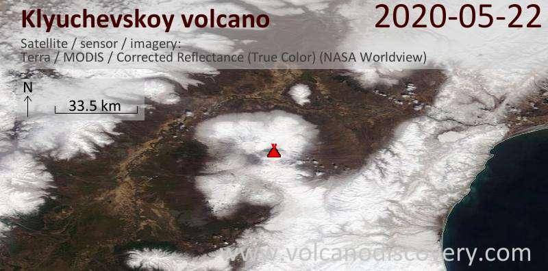 Спутниковое изображение вулкана Klyuchevskoy 22 May 2020