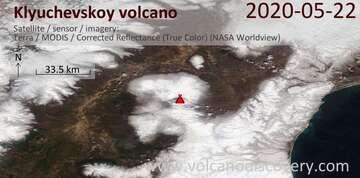 Satellite image of Klyuchevskoy volcano on 22 May 2020