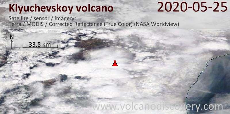 Спутниковое изображение вулкана Klyuchevskoy 25 May 2020