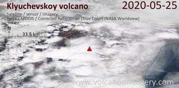 Satellite image of Klyuchevskoy volcano on 25 May 2020
